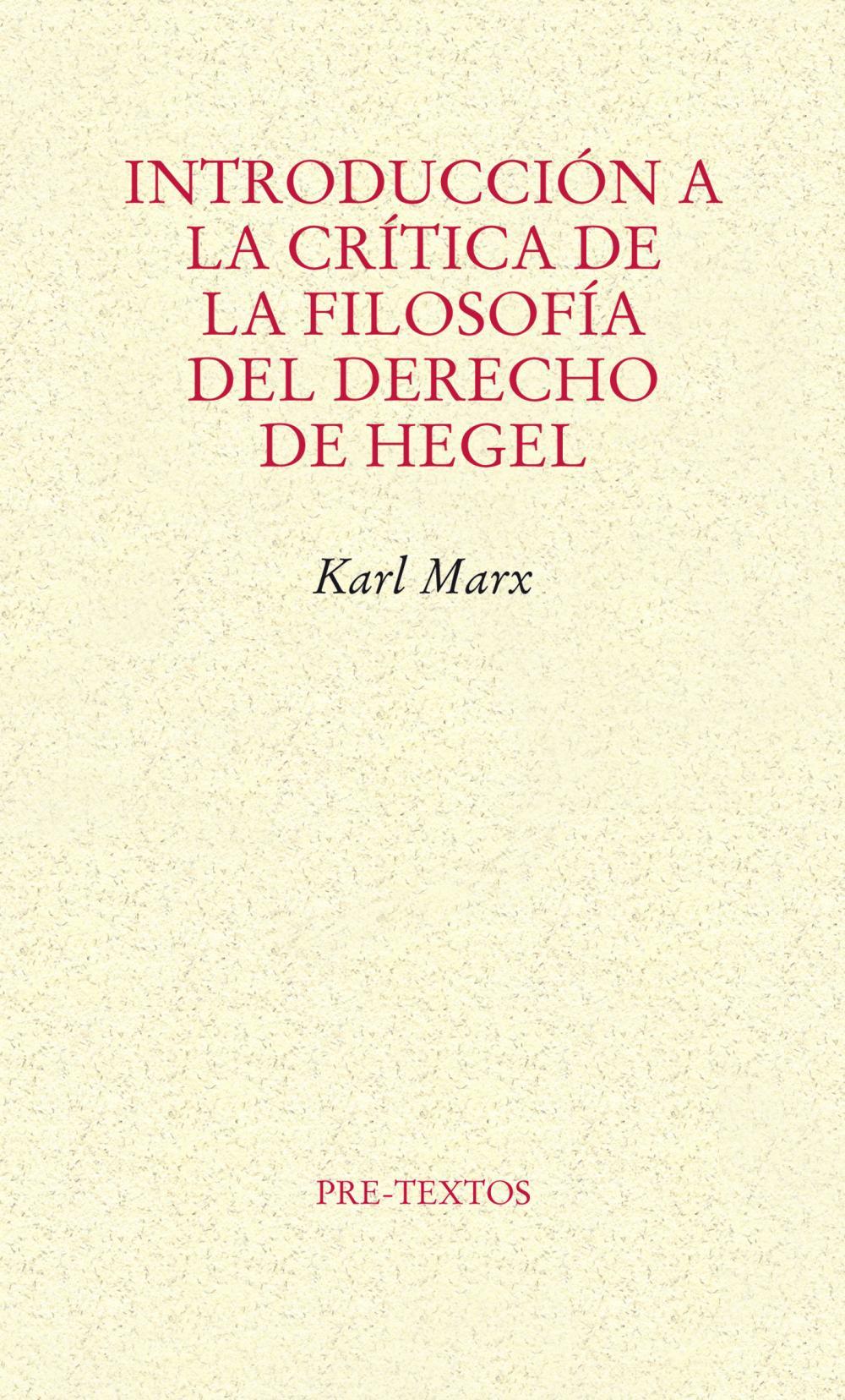 Introducción a la crítica de la filosofía del derecho de Hegel